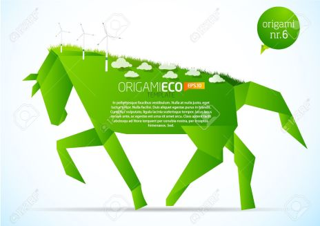 9498689-Green-origami-eco-horse-nr-6-Stock-Vector